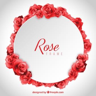 Rond frame van realistische rode rozen