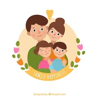Ronde achtergrond van glimlachende familie