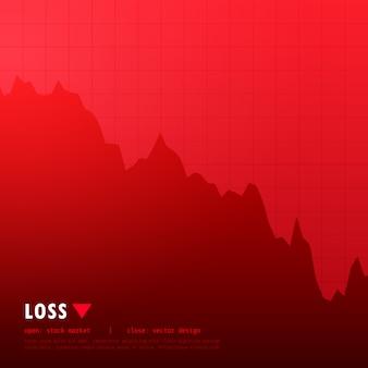 Rood verlies beurs handel concept ontwerp