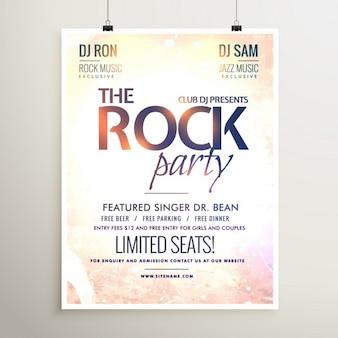 Rots feestmuziek flyer sjabloon met gestructureerde achtergrond