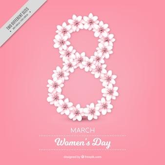 Roze achtergrond met decoratieve bloemen voor de dag van vrouwen