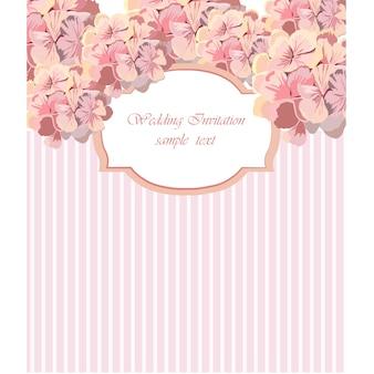 Roze bloemen bruiloft uitnodiging