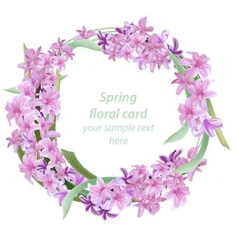 Roze bloemenkrans lentekaart