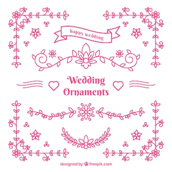 Roze bruiloft ornamenten