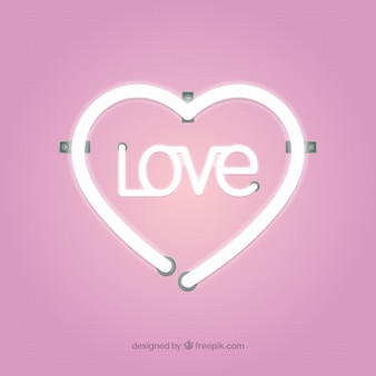 Roze neon hart achtergrond