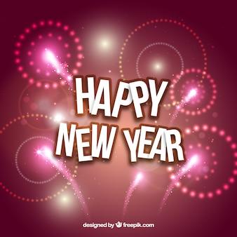 Roze nieuwe jaar vuurwerk achtergrond