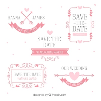 Roze pak plat bruiloftetiketten