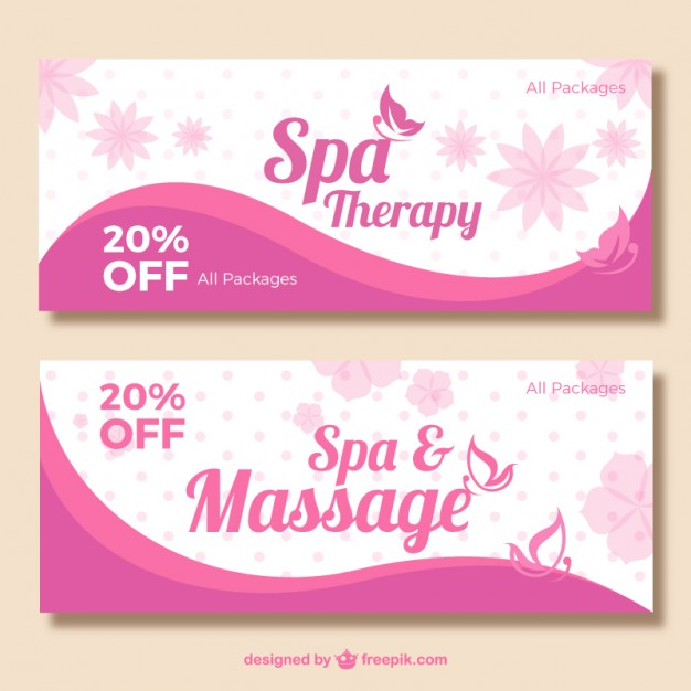 Roze spa banners