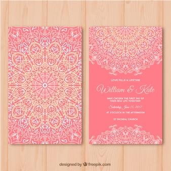 Roze trouwkaart met mandala design