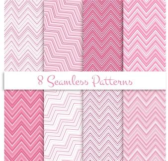 Roze zigzag naadloze patronen set