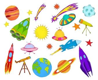 Ruimte objecten schets set gekleurd