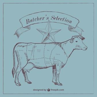 Rundvlees gesneden diagram