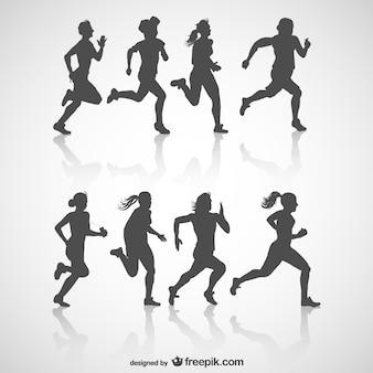 Runners gratis silhouet vector