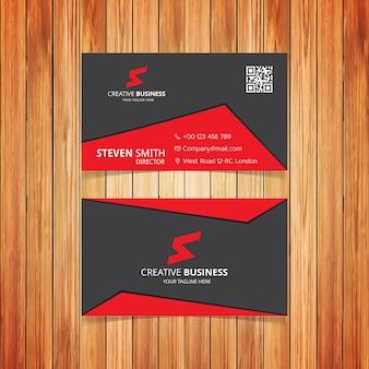 S brief logo Minimale Corporate Visitekaartje met Rode en Donkere Grijze Kleur