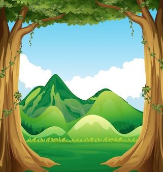 Scène van de natuur met heuvels achtergrond illustratie