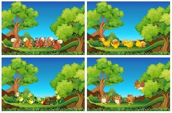 Scènes met dieren in de tuin illustratie