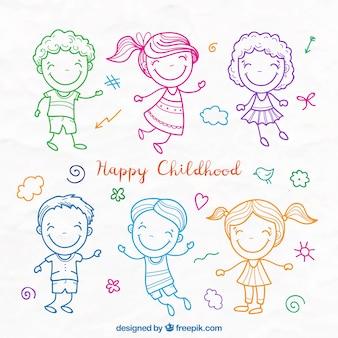 Schatten van kinderen gekleurde schetsen set