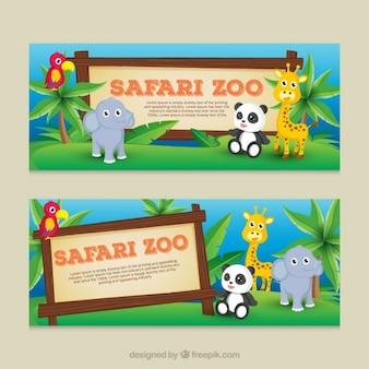 Schattige baby dieren banners