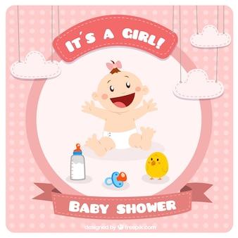 Schattige baby shower kaart in roze kleur