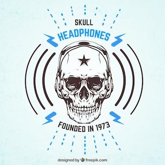 Schedel hoofdtelefoon badge