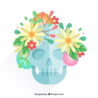 Schedel met bloemen in plat ontwerp
