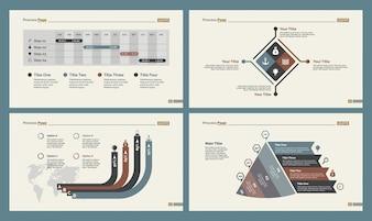 Schema sjablonen van vier plannen voor planning