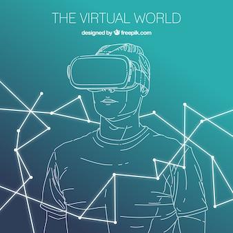 Schets jongen achtergrond met virtual reality bril