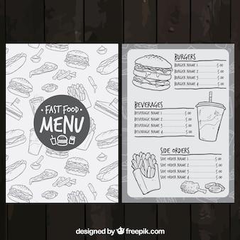 Schetsmatig fast food menu