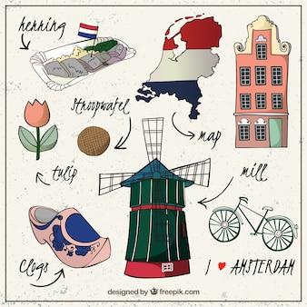 Schetsmatige Ámsterdam cultuur elementen