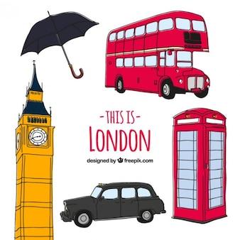 Schetsmatige Londen cultuur elementen