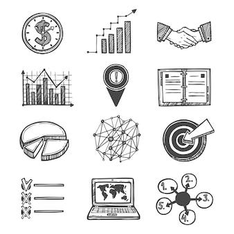 Schetsstrategie en management iconen