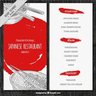 Schetst menusjabloon Japans voedsel