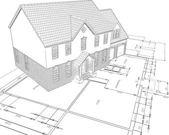 Schetsvormige stijl illustratie van een huis op plannen