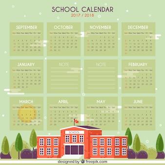 School kalender met mooi schoolgebouw