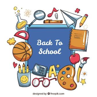 School objecten rond het schoolbord