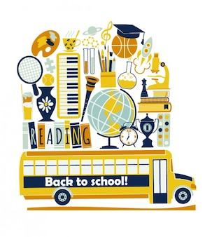 Schoolbus en benodigdheden illustratie