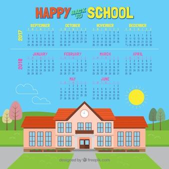 Schoolkalender en schoolgebouw