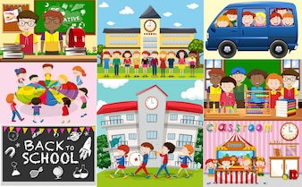 Schoolscènes met studenten en klaslokalen