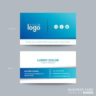 Schoon en eenvoudige blauwe visitekaartje visitekaartje ontwerp