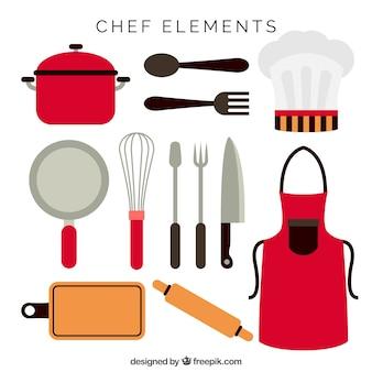 Schort en andere chef-kok items in platte ontwerp