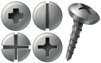 Schroef en nagels in verschillende ontwerpen
