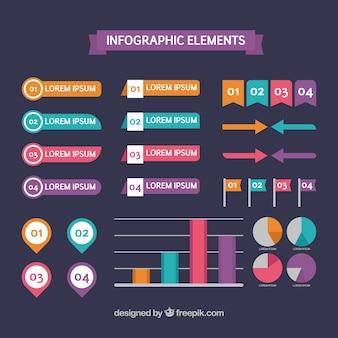 Selectie van bruikbare infografische elementen in plat ontwerp