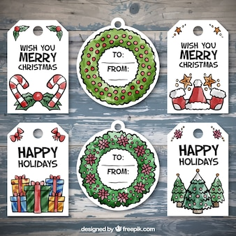 Selectie van decoratieve badges voor Kerstmis