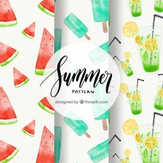 Selectie van drie aquarel zomerpatronen