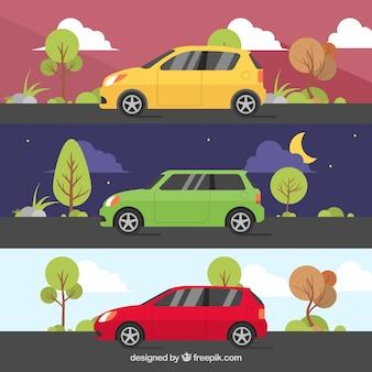 Selectie van drie kleurrijke voertuigen met verschillende landschappen