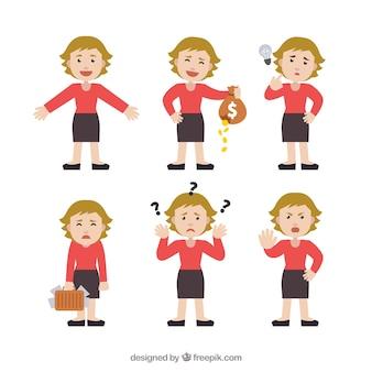 Selectie van expressieve zakenvrouw karakter in plat design