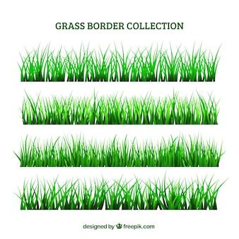 Selectie van gras grenzen in groene tinten
