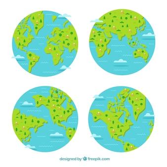 Selectie van vier aarde globes met decoratieve bomen en bergen