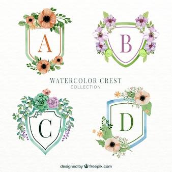 Selectie van vier bloemen emblemen