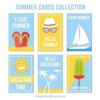 Selectie van zes platte zomerkaarten met decoratieve artikelen
